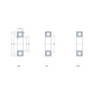 Гибридный радиальный шарикоподшипник с уплотнениями, смазанный на весь срок службы 6006-2RZTN9/HC5C3WT