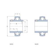 Подшипник типа Y для высоких температур со стопорным винтом для метрических валов YAR 205-2FW/VA201