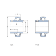 Подшипник типа Y для высоких температур со стопорным винтом для метрических валов YAR 207-2FW/VA228
