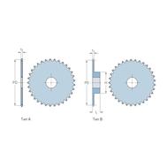Звездочки 06B-1 для приводных цепей BS/ISO  06B-1 шаг 9,525 мм без ступицы PHS 06B-1A20