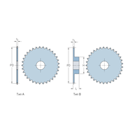Звездочки 06B-1 для приводных цепей BS/ISO  06B-1 шаг 9,525 мм без ступицы PHS 06B-1A19