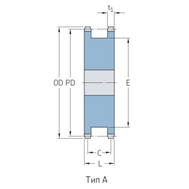 Звездочки 16B-2 для приводных цепей BS/ISO 16B-2 шаг 25,4 мм со ступицей PHS 16B-1DSA20