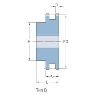 Звездочки 08B-2 для приводных цепей BS/ISO 08B-2 шаг 12,7 мм со ступицей PHS 08B-1DSA17