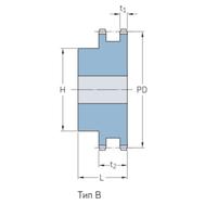 Звездочки 08B-2 для приводных цепей BS/ISO 08B-2 шаг 12,7 мм со ступицей PHS 08B-1DSA20
