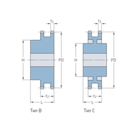 Звездочки 28B-2 для приводных цепей BS/ISO 28B-2 шаг 44,45 мм со ступицей PHS 28B-2BH11