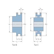 Звездочки 28B-2 для приводных цепей BS/ISO 28B-2 шаг 44,45 мм со ступицей PHS 28B-2BH17