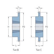 Звездочки 12B-1 с коническим отверстием шаг 19,05 мм со ступицей PHS 12B-1TB40