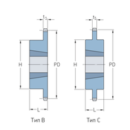 Звездочки 12B-1 с коническим отверстием шаг 19,05 мм со ступицей PHS 12B-1TB42