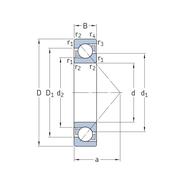 Однорядный радиально-упорный шарикоподшипник 7203 BEY
