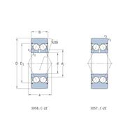 Двухрядный шарикоподшипник – опорный ролик с выпуклой поверхностью качения 305806 C-2Z